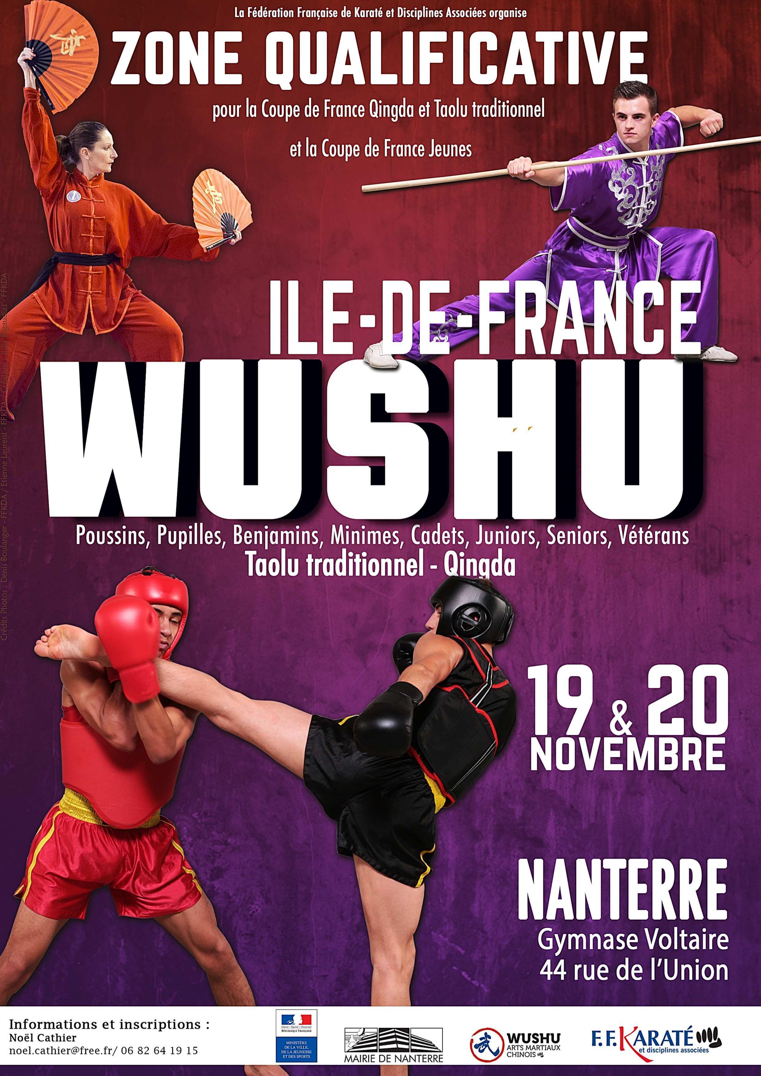 Compétition de Wushu Ile-de-France, les 19 et 20 novembre à Nanterre !